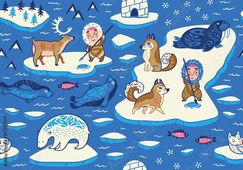 Materiał do szycia North Pole seamless pattern with wild animals, eskimos and yurt