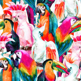 watercolor parrots seamless pattern