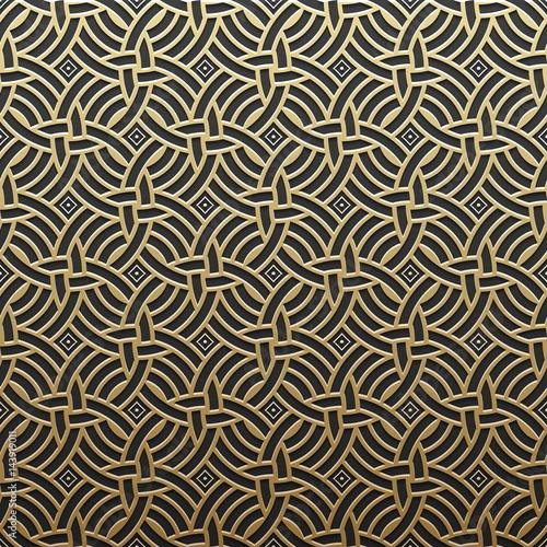 Fototapeta Golden metallic background with geometric pattern. Elegant luxury style.