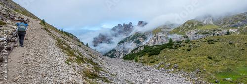 Poster Trekking in Ombretta valley, Dolomites mountain