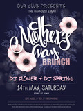 vector hand drawn mothers day event poster with blooming anemone flowers hand lettering text - mother's day and luminosity flares - 143928874