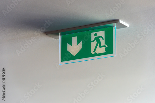 Exit sign hanging on the ceiling Poster