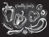 Hand drawn set of vegetables - peppers, peas, okra, eggplant, champignon. - 143935460