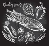 Hand drawn set of vegetables - artichoke, peas, champignon, broccoli, corn, okra, pepper. - 143935612