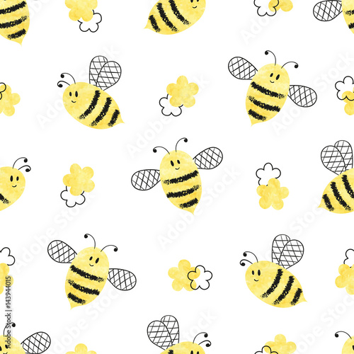 Cotton fabric Seamless bees pattern. Vector illustration.