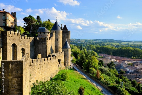 Plagát Ancient castle of Carcassonne overlooking the southern France countryside