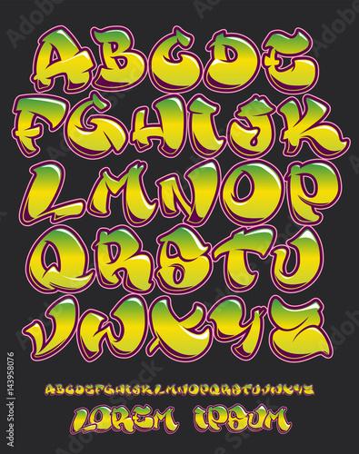 Staande foto Graffiti Graffiti alphabet- Hand written - Vector font