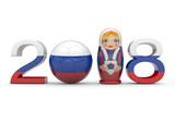 2018 mit Fußball und russischer Figur - 143963043