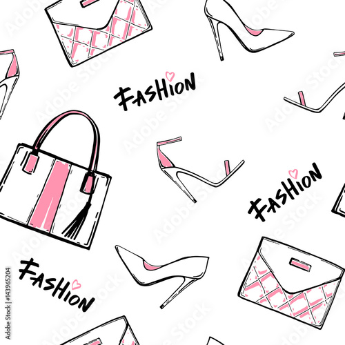 Fashion illustration seamless pattern. Love fashion hand drawn text, hand bags, shoes, heels, sandals. Sketch set. Seamless Background.