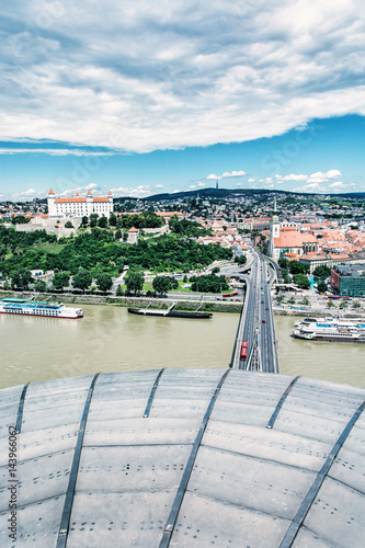 Poster Bratislava city of Slovakia with beautiful castle, Slovakia, photo filter