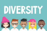 Diversity sign. A group of multinational people / flat vector editable illustration, clip art - 143971217