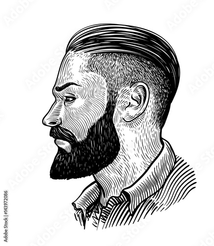 Hand drawn portrait of bearded man in profile. Hipster sketch. Vintage vector illustration - 143972086