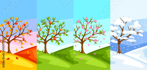 Fotobehang Turkoois Four seasons. Illustration of tree and landscape in winter, spring, summer, autumn.