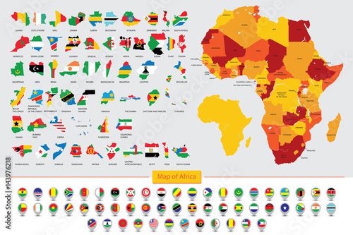 Map Of Africa With Flags.Map Of Africa Flags Of African Countries Buy Photos Ap Images