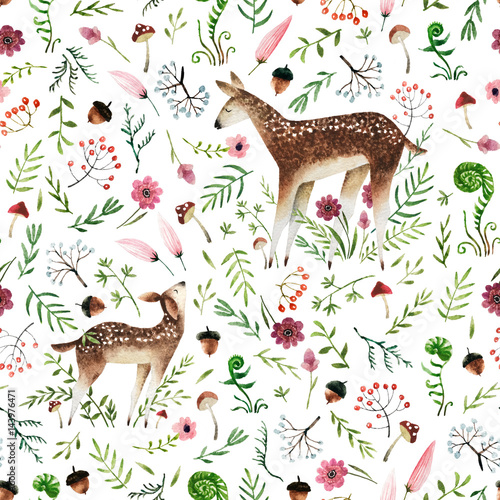 Cotton fabric Watercolor seamless pattern