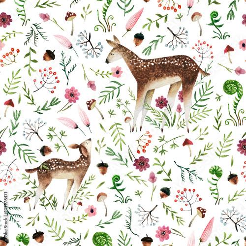 Cotton fabric Watercolor seamless pattern