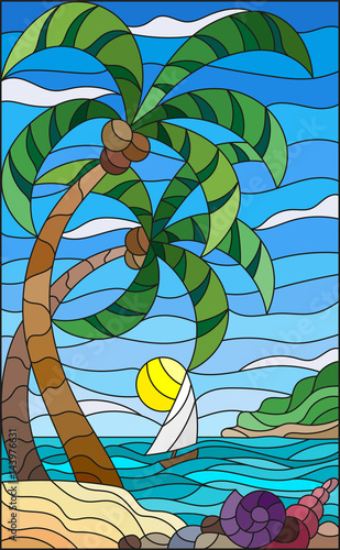 illustration-in-stained-glass-style-with-a-tropical-sea-landscape-coconut-trees-and-shells-on-the-sandy-beach-a-sailboat-with-a-white-sail-in-the-distance-on-the-background-of-sunny-sky-and-clouds
