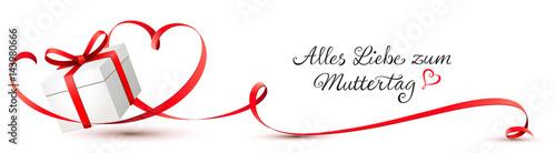 Geschenkbox mit geschwungenem Herz Schleifenband - Alles Liebe zum Muttertag