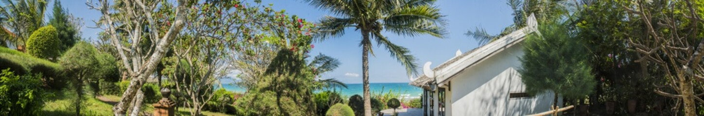 panorama of tropical Asian landscape with palm trees and a view of the sea