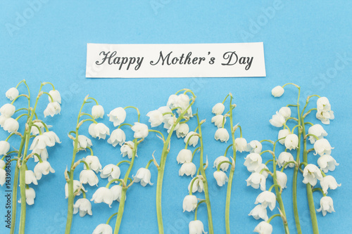 Fotobehang Lelietjes van dalen Happy Mother's Day, Greeting Card, with Lily of the Valley Flowers