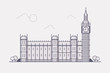 Line Art Vector Illustration of London Famous Landmark- Big Ben. Flat Design Style.