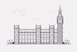 Line Art Vector Illustration of London Famous Landmark- Big Ben. Flat Design Style.  © bubble86