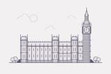Line Art Vector Illustration of London Famous Landmark- Big Ben. Flat Design Style.  © bubble86
