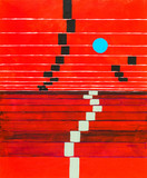 An abstract painting; receding stripes on a red background, with floating blue circle.  - 143990063