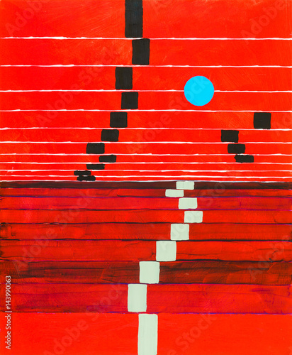 An abstract painting; receding stripes on a red background, with floating blue circle.