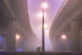 Highway lighting. The road in the fog.