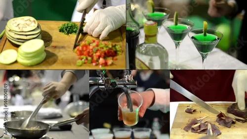 In de dag Buffet, Bar Food and drink montage