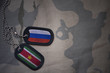 Постер, плакат: army blank dog tag with flag of russia and suriname on the khaki texture background military concept
