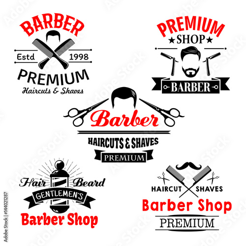 Barber shop premium salon vector icons set