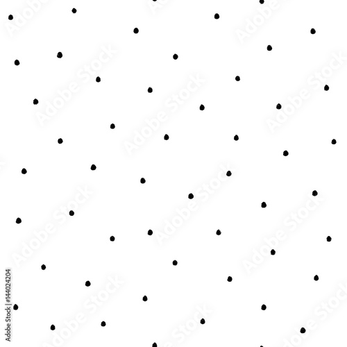 Seamless modern black and white vector doodle dotted texture, dry brush ink art. - 144024204
