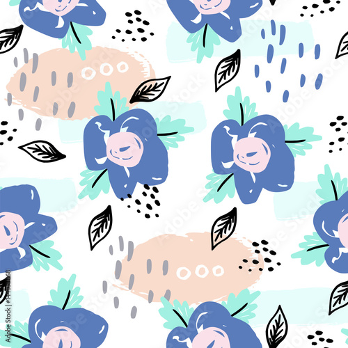 Tapeta Beautiful seamless pattern with spring flowers. Bright illustration, can be used for wrapping paper, invitation card for wedding,wallpaper and textile.