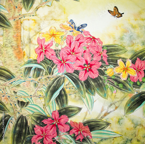 Fototapeta Chinese traditional painting of flowers