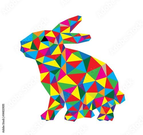 Polygon Rabbit, geometric art vector design