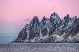 Winter panoramic view to Oksahornan in Steinfjord on Senja Island at sunset - Troms county, Norway