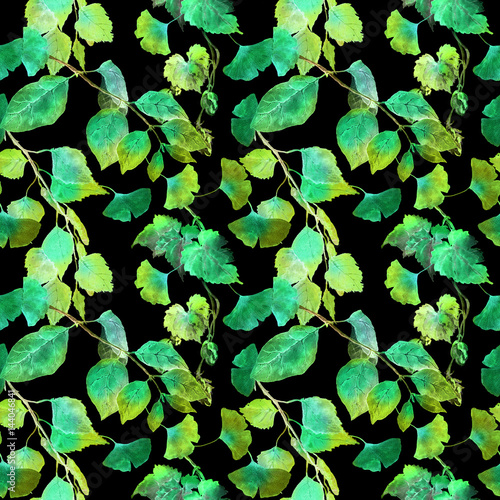 Papiers peints Bambou Green leaves in night forest. Seamless pattern, black background. Watercolor