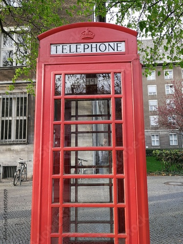 Typical vintage British red phone boxes Poster