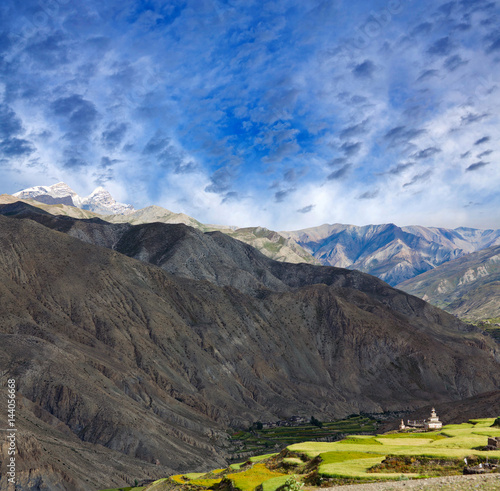Panorama of Saldang village in Dolpo, Nepal Poster