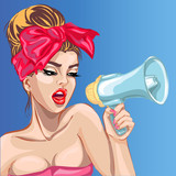 Pop art sexy girl with megaphone. Woman with loudspeaker. Pin-up vector illustration