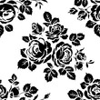 Monochrome seamless background with vintage rose silhouettes. Vector seamless pattern - 144062048