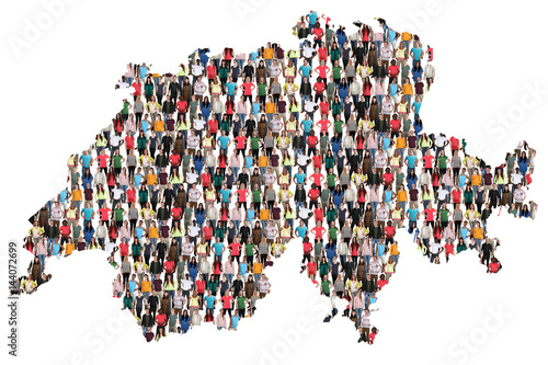 Schweiz Karte Leute Menschen People Gruppe Menschengruppe multikulturell