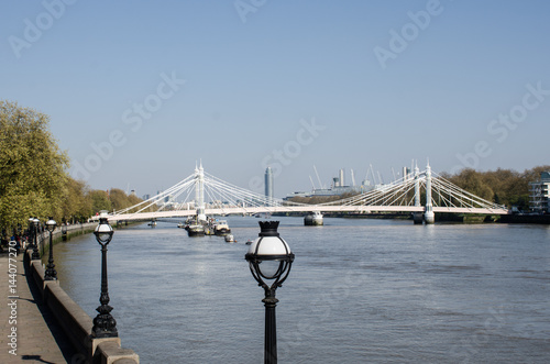 River Thames from Chelsea with Albert Bridge in background Poster
