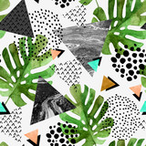 watercolor tropical leaves and textured triangles background - 144091003