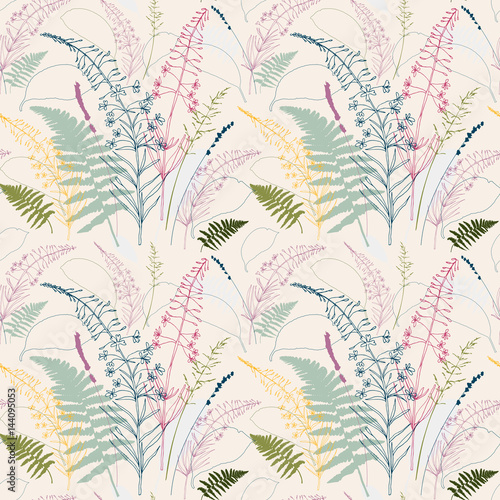 Fototapeta Vector floral seamless pattern with fireweed flowers, fern leaves, lavender and grass.
