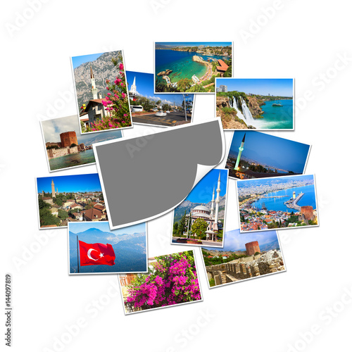 Poster Blank photo with copy space and collection of travel pictures from Turkey