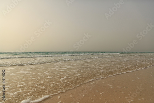 View on the sea from open beach next to Burj Al Arab, Dubai Poster