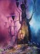 Baśniowy dom w drzewie na tle kolorowego nieba